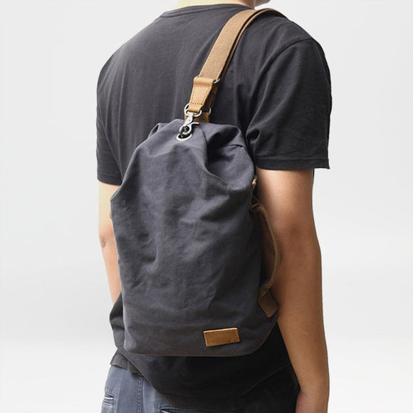 Tide bag simple personality new canvas chest bag men's fashion casual diagonal cross bucket bag outdoor shoulder men's