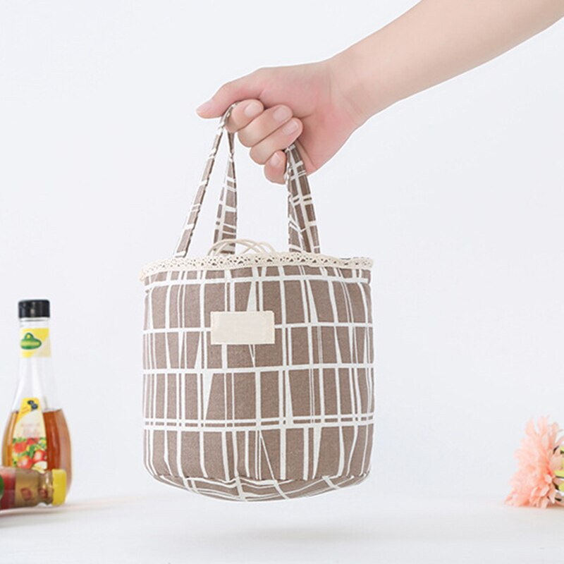 High Quality Thermal Insulated Lunch Bag Container Cooler Bag Portable Canvas lunch Bag Food Picnic Travel Storage Bags
