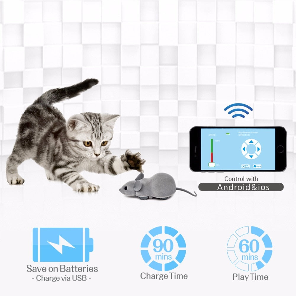 Pet Cat Toy Interactive Wireless Remote APP Control Cute RC Mouse Toy Connect With Bluetooth For Dog Cat Kid Playing Pet Product