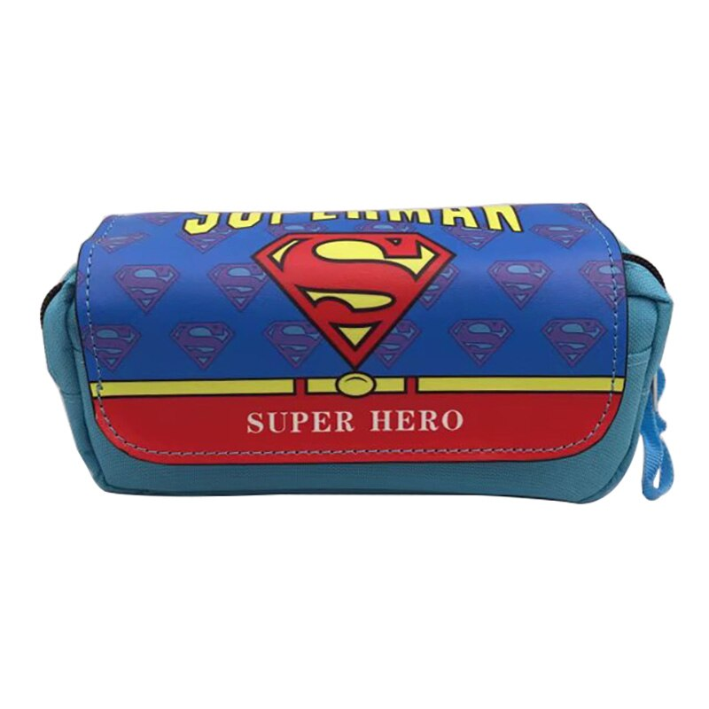 Classic Anime Superman Pencil Bag Pen Box Hero Series Student Cartoon Stationery Organizer Purse Leather Makeup Cases Gifts Bags