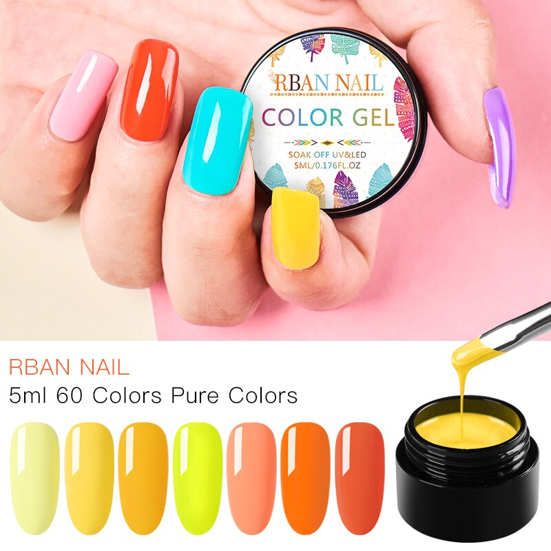 RBAN NAIL 5ml 60 Colors Nail Gel Polish Hybrid manicure Set For Nail Gel Soak Off UV LED Lamp nail Gel Varinishes