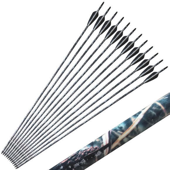 12pcs 7.6mm 31.5 inch Camouflage Carbon Archery Arrows for compound Recurve Bow Arrowheads Shooting Hunting Bow  Blind & Tree