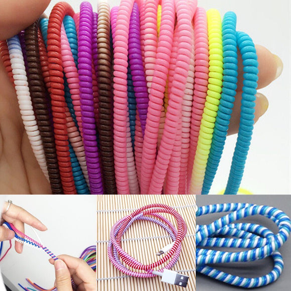 1pc/10pcs 58cm Mixed Data Cable Protective Sleeve Spring twine For iphone Android USB Charging earphone Case Cover Bobbin winder