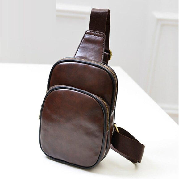 DINIWELLFashion men's travel chest bag leather Handbags slung casual  men's shoulder bag multi-function small travel bag