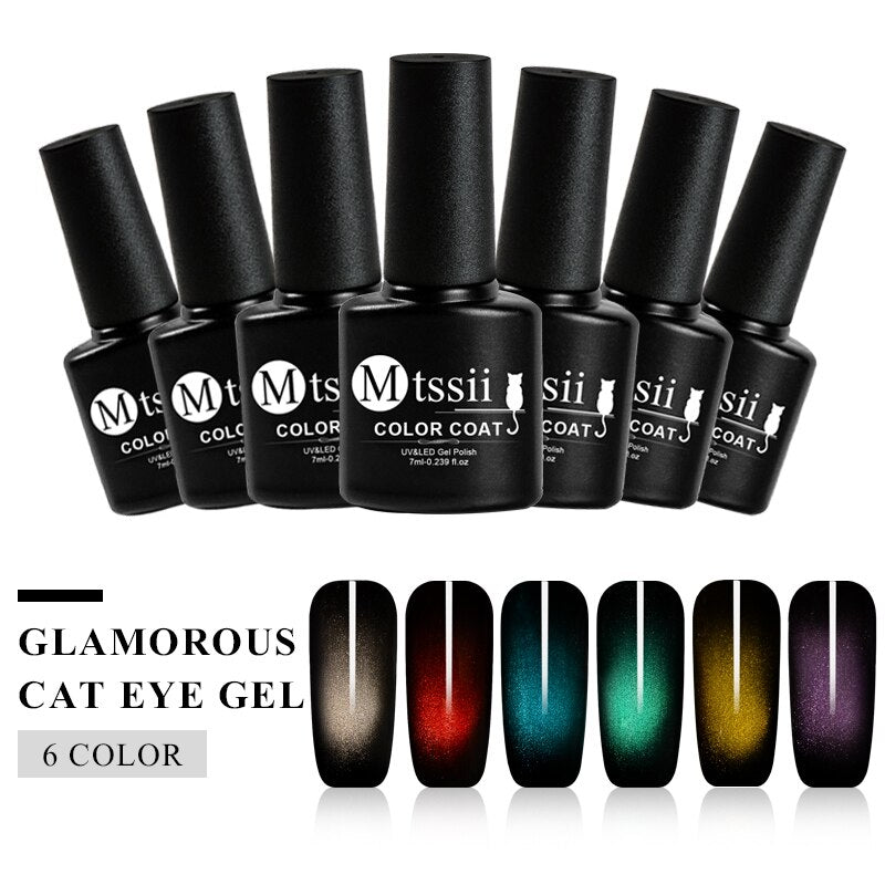 Mtssii 7ml Glamorous Cat Eyes Nail Gel Polish Shimmer UV Soak Off Magnetic Nail Gel Varnish Black Based Need Nail Decoration