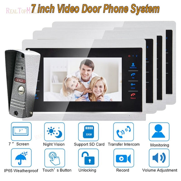 7 Inch Doorbell Camera Video Door Phone Monitor Intercom System Kit Night Vision 1200 TVL Recording SD Card Support 1 v 4