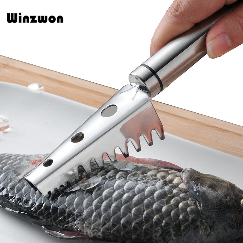 1Pcs Stainless Steel Fishing Knife Fish Scaler Skin Remover Cleaner Fish Scraper Fish Cleaning Tools Kitchen Seafood Tool