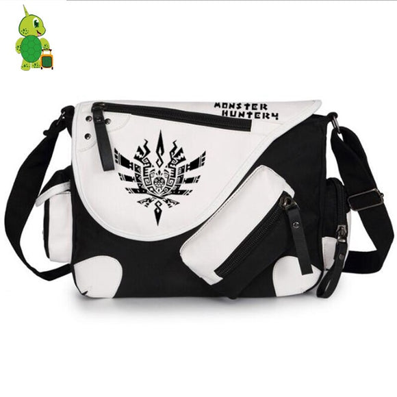 Hot Game Monster Hunter Printing Messenger Bag Canvas Shoulder Bag for Teenagers Students School Bags Crossbody Travel Bags