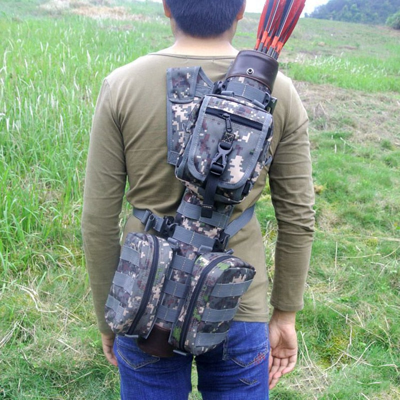 Tactical Nylon Large Archery Arrow Quiver with Molle System Bag for Recurve / Compound bow Hunting Shooting Arrow Holder Bag