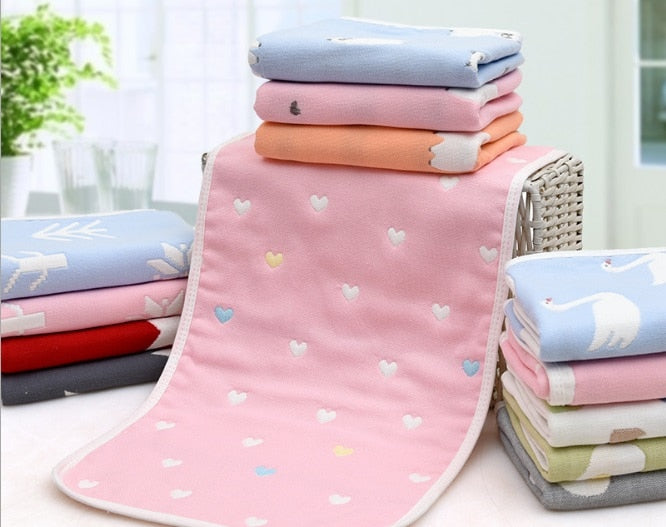 Cotton Gauze Kids Towel Toddler Soft 6 Layer Soft Gauze Baby Boys girls Face Towel Infant Absorbent Drying Bath Beach Face Towel