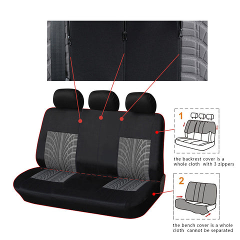 Full Set Car Seat Cover Tyre Line Seat Covers Auto GRAY Car Accessories Interior