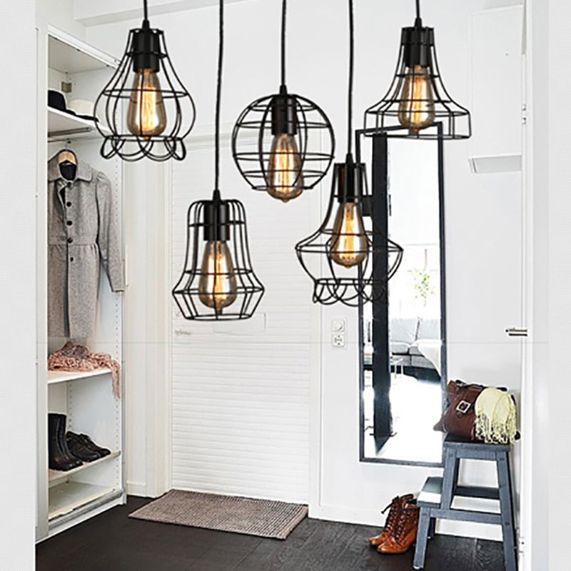Loft retro vintage black Industrial iron cage pendant lamp cord lights illumination for dining room bedroom bar coffee office