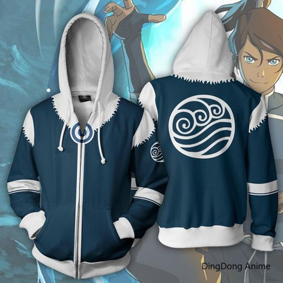 Avatar The Last Airbender Aang Korra 3D Print Sweatshirts casual hip hop Hoodie Zip jacket cosplay Autumn Men's Clothing Coat