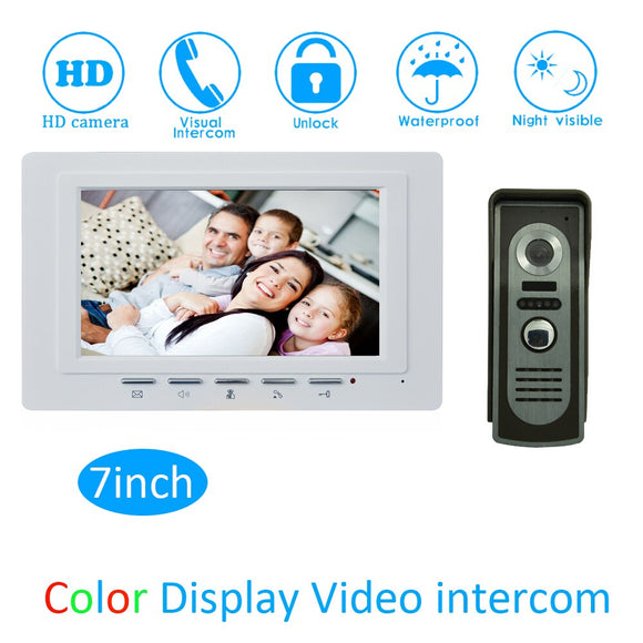 one to one intercom system for building 7inch LCD color screen waterproof camera doorbell ring wired Video door phone