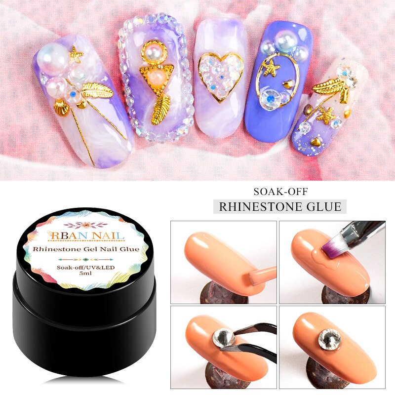 RBAN NAIL 5 ml Nail Rhinestone Gel Polish Stick Nail Adhesive Glue for DIY Nail Decorations Tool