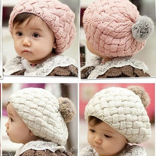 2018 New Baby Winter Hat Knit Crochet Baby Beret Girl Cap For Children Cotton Warm Cap Cute Warm Kid Beanie Unisex