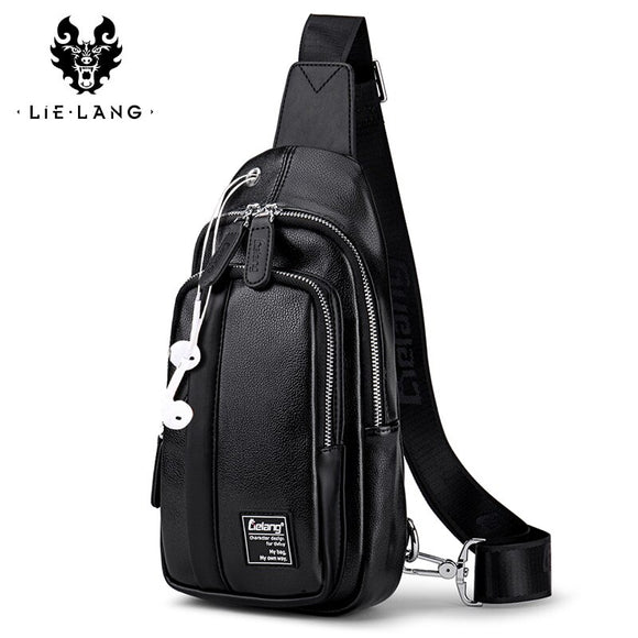 LIELANG Chest Bag Men Crossbody Bags Warterproof Chest Pack PU Leather Single Shoulder Strap BackBag Male Bags