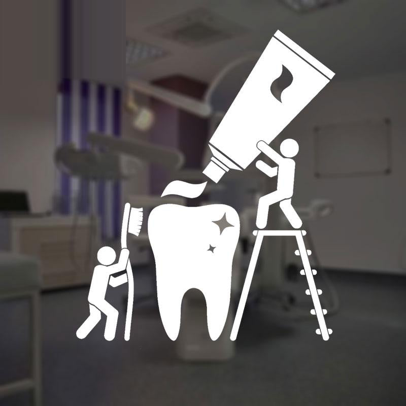 Health Teeth Cleaning Dentist Bathroom Stickers Vinyl Interior Window Decor Decals Removable Mural A198