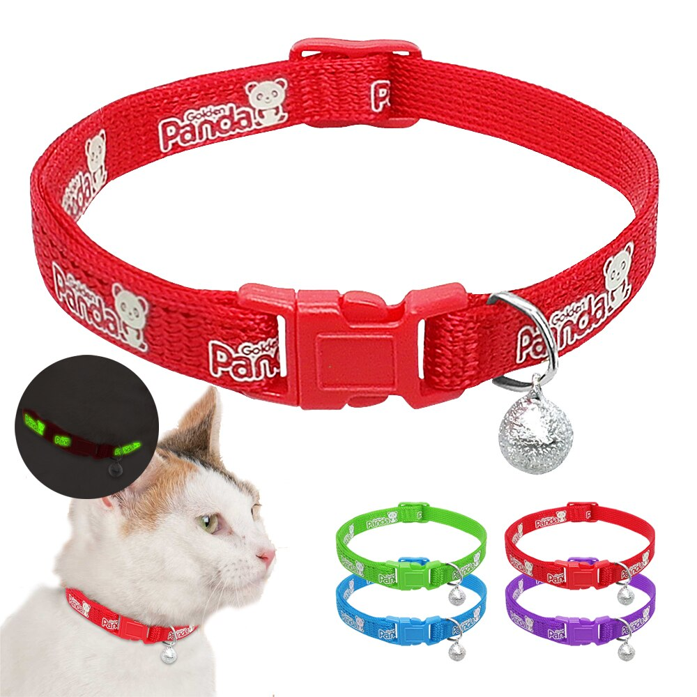 Safety Nylon Cat Dog Collar Lovely Adjustable Breakaway Pet Cat Collars With Bell Fluorescence Pet Cats Kitten Supplies
