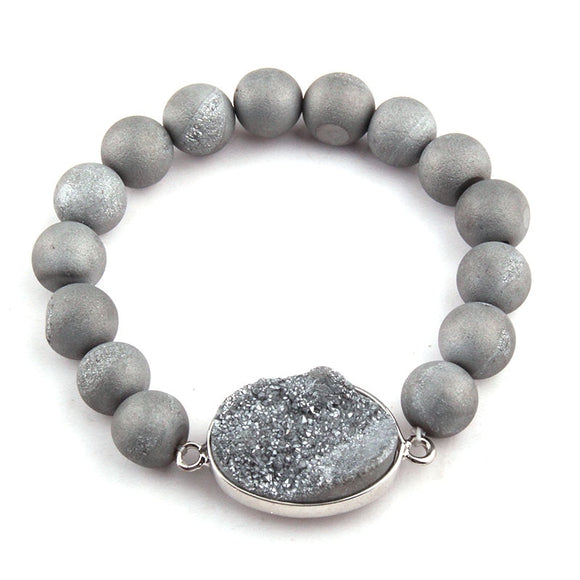 Free Shipping Energy Bracelets Made 10mm Natural Stone Bead Druzy Bracelet