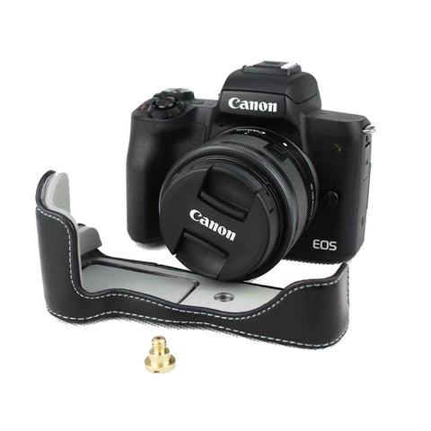 Coffee for Canon EOS M50 Leather Camera Half Case Cover Bottom Skin Protector w//Battery Access