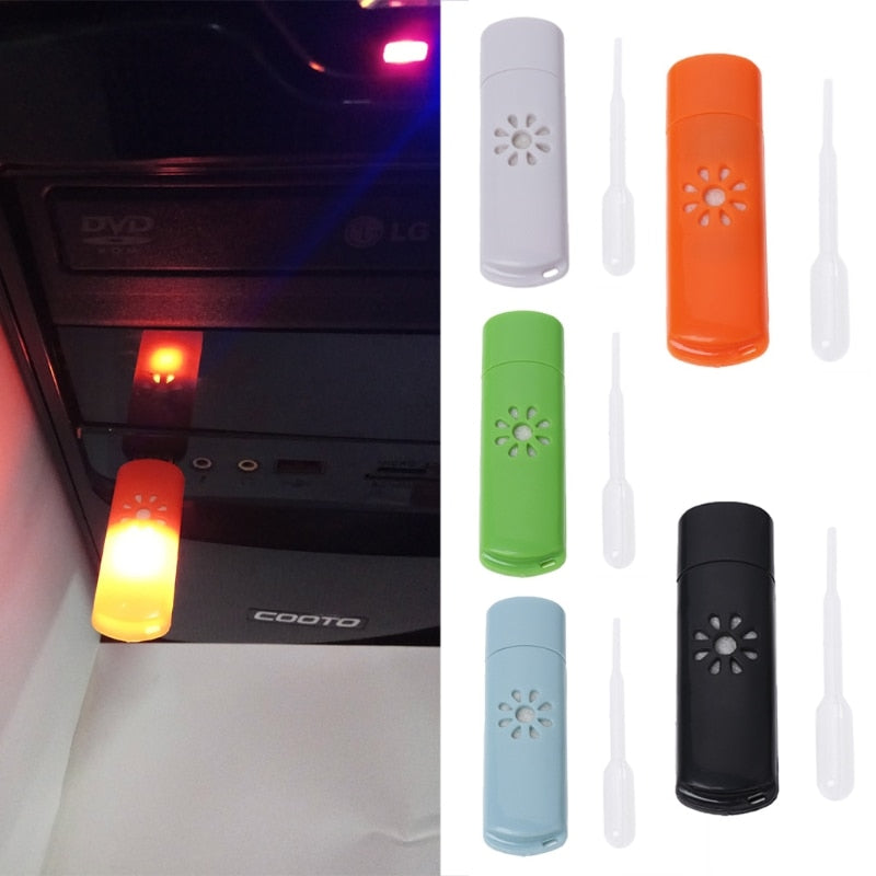 Free_on Mini USB Car Aromatherapy Diffuser Aroma Humidifier Essential Oil Fresh Home New Air Conditioning
