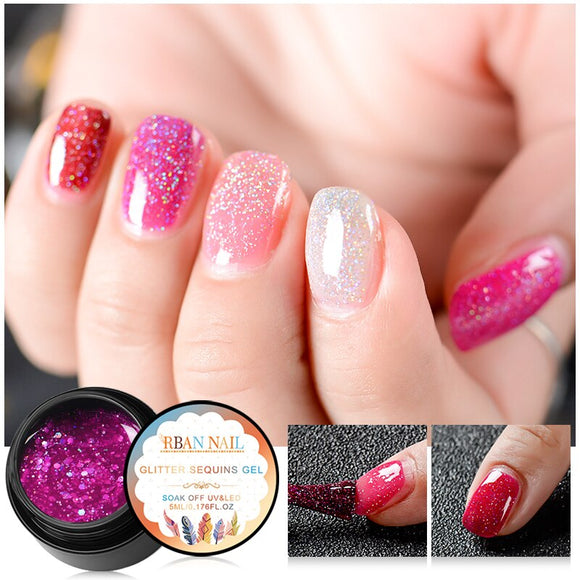 RBAN NAIL 5ml Holographic Glitter Nail Gel Polish Shiny Laser Sequins Pink Purple Color Soak Off UV Gel Polish Nail Art Lacquer