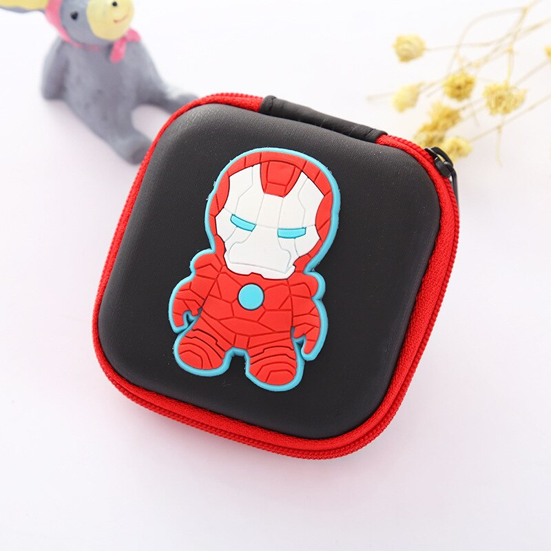 Multi Function Silicone Coin Purse Mini Boxes Case Avengers Ironman Batman Super Hero EVA Earphone Cable Organizer Gifts Wallets
