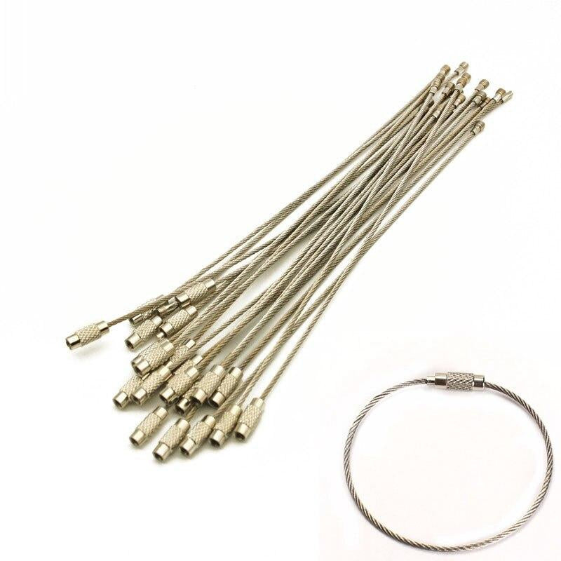 10pcs High Quality Metal Wire Ring Keychain Stainless Steel Wire Rope Creative carabiner Keys Hanging Cable Edc Outdoor Tools