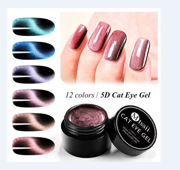 Mtssii 5ML 5D Cat Eye UV Gel Nail Polish Magnet Nail Art Varnish Starry Sky Jade Effect Soak Off UV Gel Nail Art Lacquer