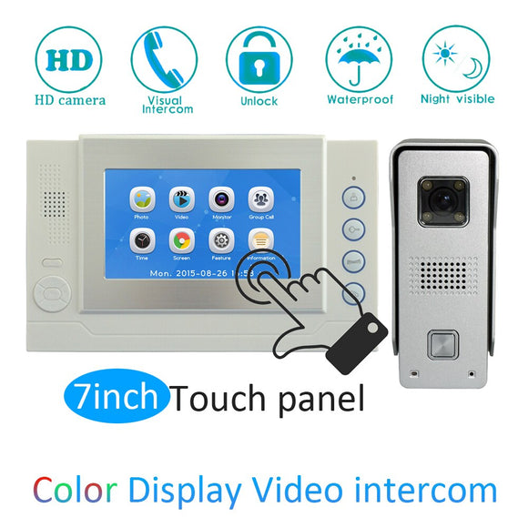 Building intercom System 7inch LCD Color screen Camera doorbell wired video door phone Smart door bell ring night visible camera