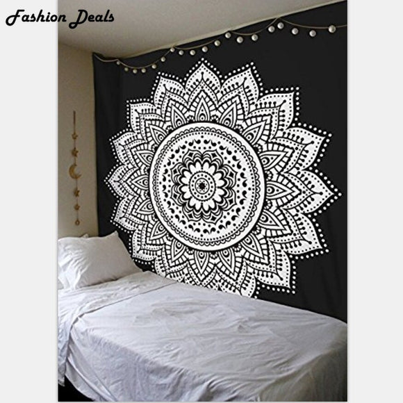 Indian Mandala Wall Hanging Tapestry Lotus Flower Printed Tapestries Beach Towel Yoga Mat Table Cloth Throw Blanket Wall Cloth