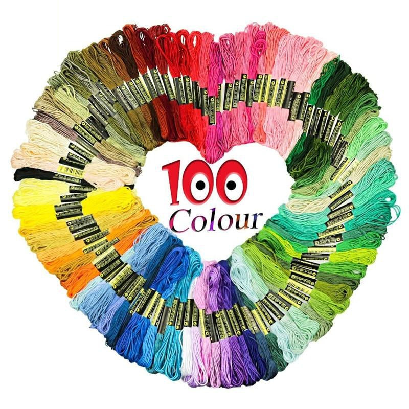 100pcs Premium Rainbow Color Embroidery Floss Cross Stitch Threads Friendship Bracelets Floss Crafts Floss DIY Sewing Accessorie