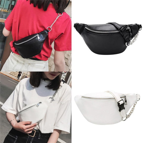 Ladies Waist Fanny Pack Female Belt Bag Black White Chest Phone Pouch Hip Bum Bag Women Travel Small Purse