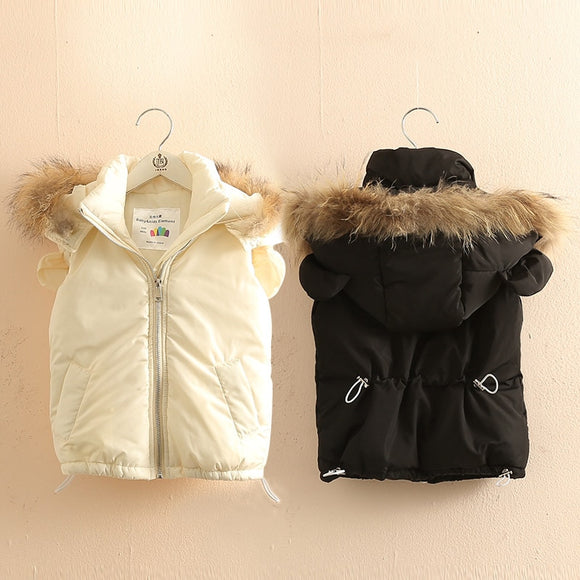 Girls Outwear&Coats 2018 Winter 2-10 Years Animal Ear Faux Fur Hat Solid Color Thickening Plus Velet Kids Baby Girl Hooded Vests