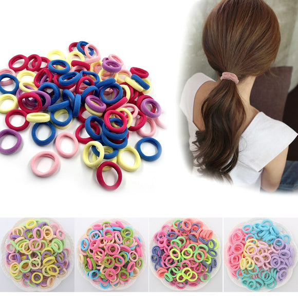 100 pcs/lot High Stretch No seam Towel Loop Hair Loop Elastic Candy Color Hair Band Reused Hair Ring  Kids Girls Headwear