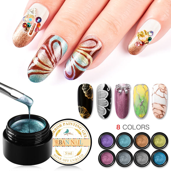 RBAN NAIL 5ML Metallic Mirror Nail Gel Polish Wire Drawing Painting Gel Lacquer UV Or LED Lamp Soak Off Nail Art