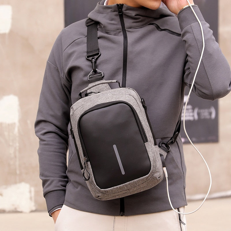Fashion Crossbody Bags For Men 2020 chest bag USB smart charging sports bag Oxford cloth waterproof men shoulder