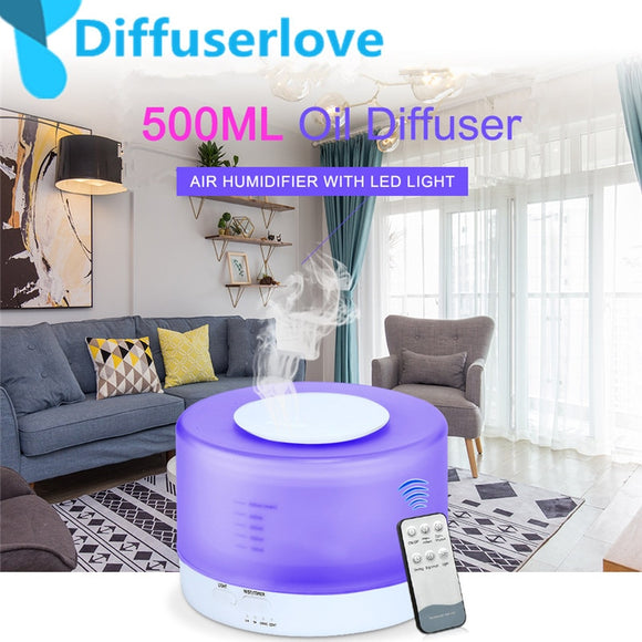 Diffuserlove Remote Control 500ML Ultrasonic Air Humidifier With LED Lights Aromatherapy Essential Oil Aroma Diffuser