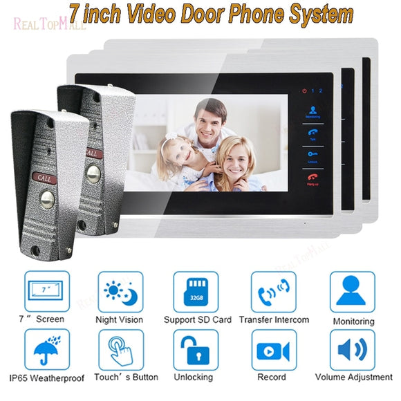 7 Inch Doorbell Camera Video Door Phone Monitor Intercom System Kit Night Vision 1200 TVL Recording SD Card Support 2v 1