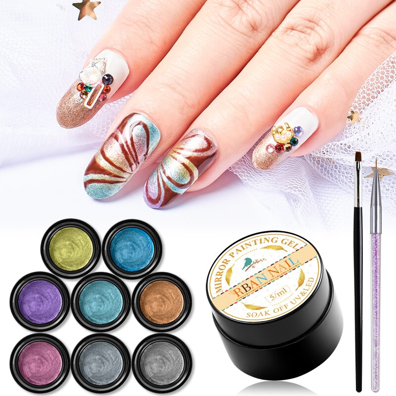 RBAN NAIL 5ML Hybrid Varnishes Gel Nail Polish Set Painting Nails Art UV Top Base Primer For Manicure Nail Art Decoration