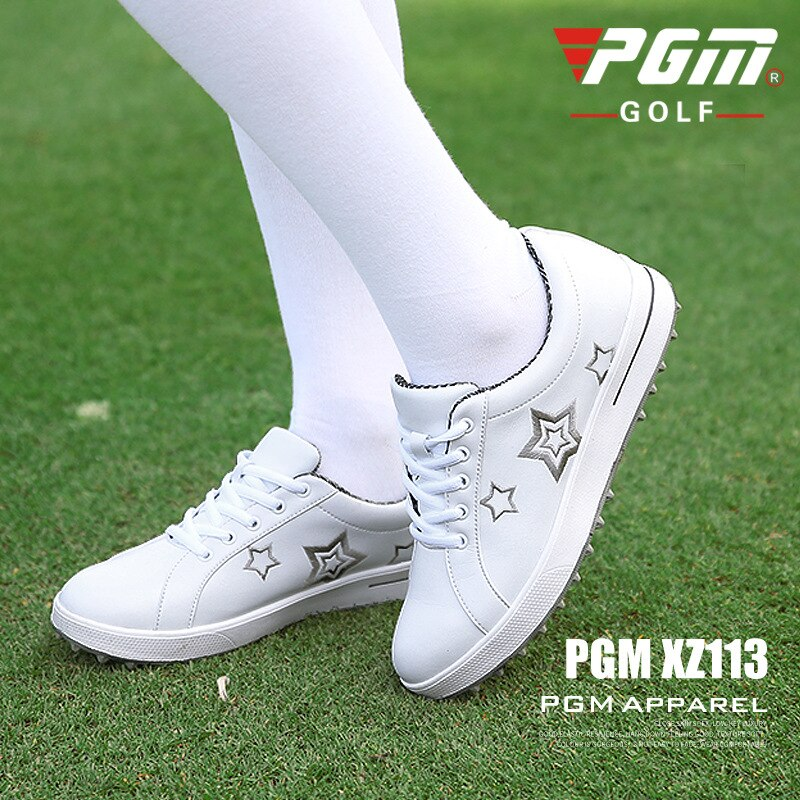 Pgm Women Star Print Golf Shoes Ladies Non-slip Breathable Sneakers Female Fashion Lace Up Golf Sneakers  D0770