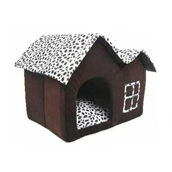 Pet House Luxury Double Dog Room Brown Dog Cat Bed Double Soft Winter Warm Kennel Dog House With Cushion Mat Puppy Dog Basket