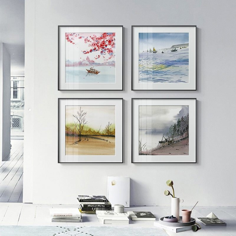 Modern Seasons Landscape Canvas Painting Posters New Fashion Wall Art Pictures For Living Room Bedroom Dining Room Unique Decor