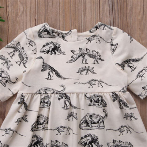 Toddler Infant Child Kids Baby Girl Animal Cartoon Short Sleeve Dress Clothes Casual Dinosaur Summer Sundress 1-6T