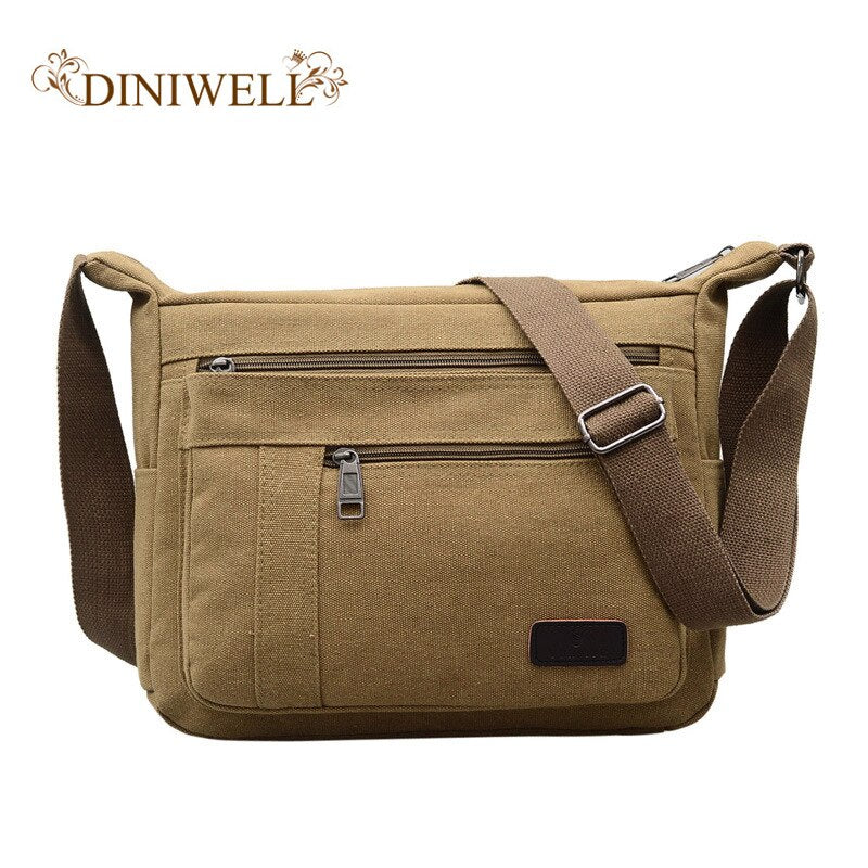 DINIWELL 2018 new men's shoulder bag fashion simple canvas handbag leisure shoulder diagonal package