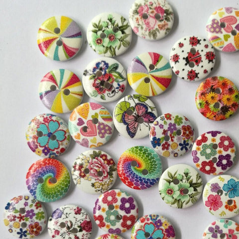 50pcs Cake 2 Hole Round Wood Buttons Clothing Sewing Scrapbooking Decor 15mm