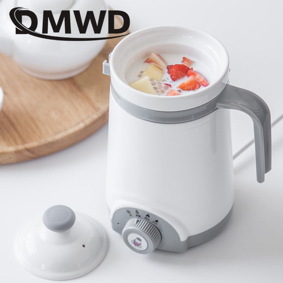 DMWD Mini Automatic Electric Kettle Boiler Ceramics Soup Stew Porridge Slow Cooker Milk Heater Hot Water Heating Cup Health Pot