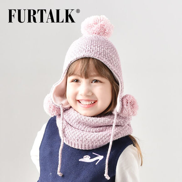 FURTALK Winter Wool Pompom Hat Scarf Set for Kids Knit Beanie Boy Bomber Baby Hats Girl Scarf CH001