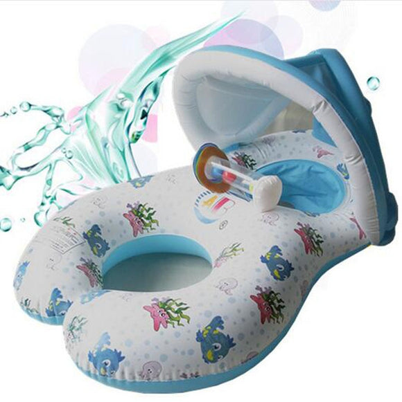 Summer Mother Baby Safety Swim Float Ring PVC Swimming Circle Child  Seat Rings Double Swimming Safe Inflatable Seat Raft